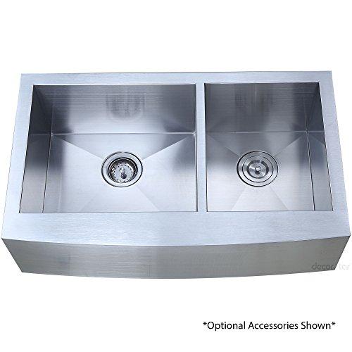 Decor Star F-002-Z 33 Inch x 20 Inch Farmhouse Apron 60/40 Offset Double Bowl 16 Gauge Stainless Steel Luxury Handmade Kitchen Sink cUPC Zero Radius by Décor Star (Image #5)