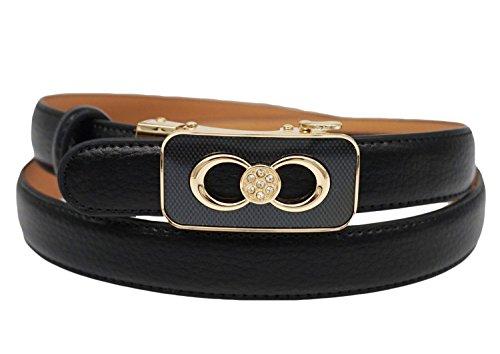 Soft Direct Women's Leather Belt for Pants Dress Jeans Sliding Buckle 24mm Ratchet Belt Style 3 Black