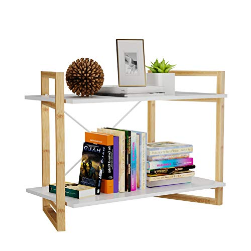 BAMFOX Bamboo Bookshelf,Bookcase and Storage Shelf with 2 Tiers,Ideal for Living Room,Bathroom,Kitchen,Office and More,26