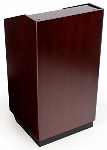 Displays2go Mobile Podium Lectern for Speaking, Tilt-N-Roll Design with Locking Cabinet (XQHLHNRMLK) by Displays2go