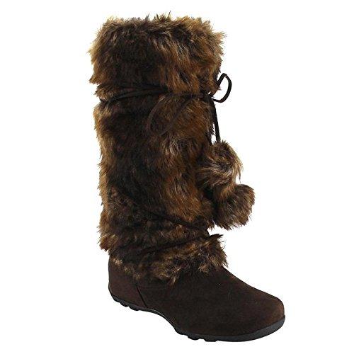 De Blossom Collection CE37 Women's Lace Up Mid-Calf Pom-Poms Flat Boots, Color:Brown, Size:10