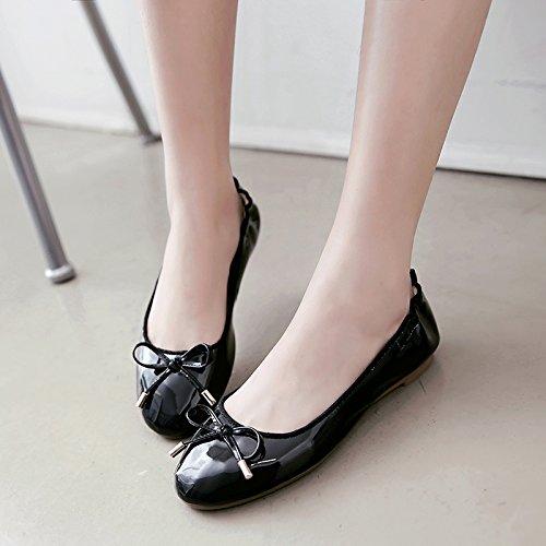 Black toe flats Ladies Ballet JIEEME Spring red Sweet Single bowknot Round Women shoes beige wRdq0Ot