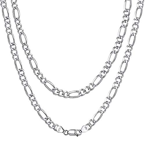 ChainsHouse Men Boys 925 Sterling Silver 2.9mm Italian Style Figaro Chain Necklace, 24 ()