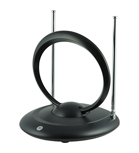 HDTV Antenna 25-40 Miles Range, Indoor Rabbit Ear TV Antenna, Retractable Dipoles [Tabletop] with 5FT Cable Connector, 33694