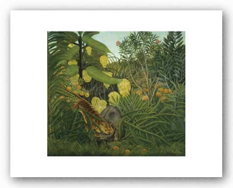 The Fight Between a Tiger and Buffalo, c.1908 Art Print Art Poster Print by Henri Rousseau, - 1908 Poster