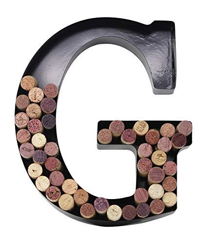 Wine Cork Monogram Letter - Metal Letter Wine Cork Holder Monogram w/Free Wall Mount Kit A-Z, (G)
