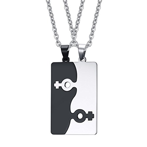 VNOX Stainless Steel Female Symbol Puzzle Couple Necklace Pendant for Best Friend Gay & Lesbian Pride