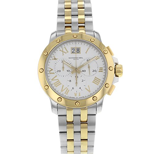 Raymond Weil White Wrist Watch (Raymond Weil Men's 4899-STP-00308 Tango Gold and Steel White Chronograph Watch)