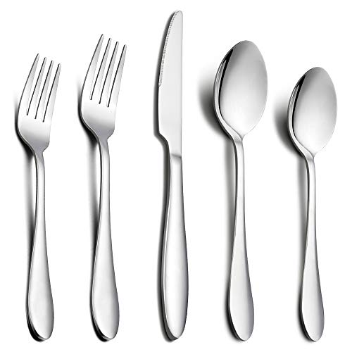 Silverware Set, E-far 20-Piece Flatware Cutlery Set for 4 Stainless Steel Eating Utensils, Include Forks/Knives/Spoons, Mirror Polished, Dishwasher Safe - Service for 4