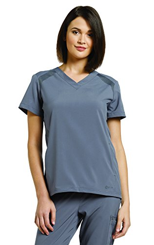 Oasis Fit By White Cross Women's V-Neck Solid Scrub Top Medium Pewter (Pull Pewter Top)