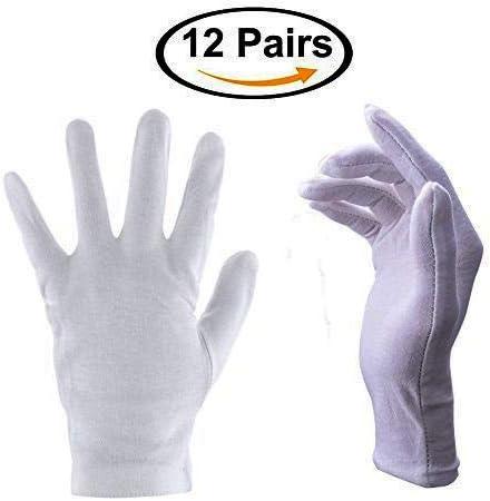 QIJUN Guantes blancos suaves 100% algodón de 22 cm de tamaño grande para trabajo/forro (12 pares): Amazon.es: Hogar