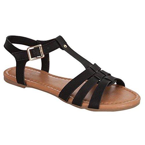 Fashion-shoes Dames Short Gladiator Lace Up Gladiator Sandalen Zwart