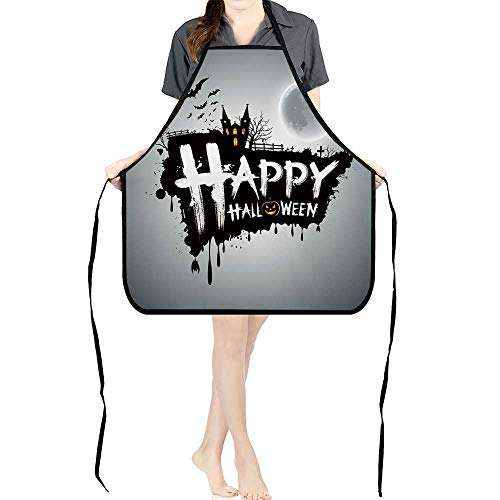 Jiahong Pan Durable Kitchen Happy Halloween Message Design Background,Vector Chef Apron for Cooking,Grill and BakingK17.7xG26.6xB9]()