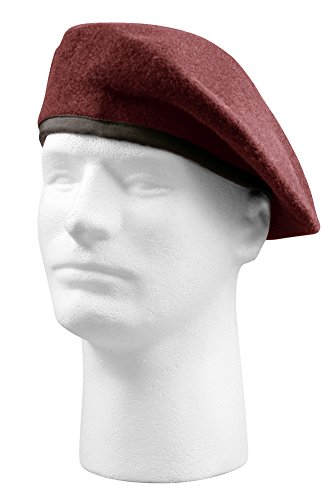 [Burgundy Maroon Wool Blend G.I. Type Military Beret XL] (United Nations Costumes For Women)