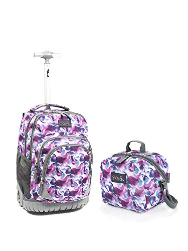 tilami Tilami New Antifouling Design 18 Inch Wheeled Rolling Backpack Luggage and Lunch Bag,Purple Daffodils 2 price tips cheap