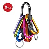 Locking Carabiner - Beeway Pack 8 Premium Aluminum Alloy D-ring Carabiners Clip Hook with 2pcs Keychain O Ring for Outdoor, Camping, Hiking, Traveling, Fishing, Backpack