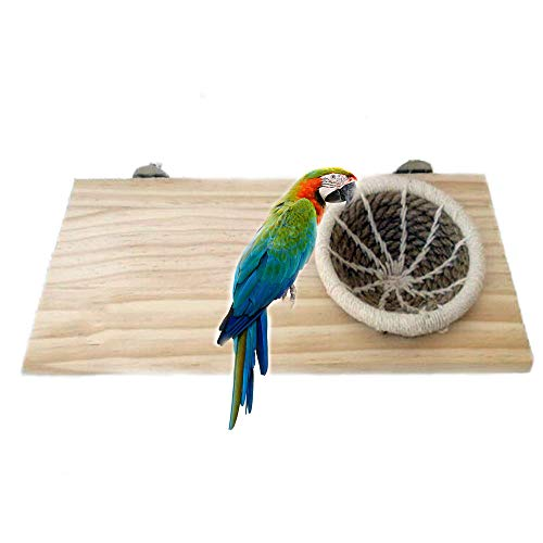 Large Wood Platform for Small Animal Cages Handmade Cotton Rope Bird Breeding Nest Bed for Budgie Parakeet Cockatiel Parakeet Conure Canary Finch Lovebird and Small Parrot Cage Hatching Nesting Box