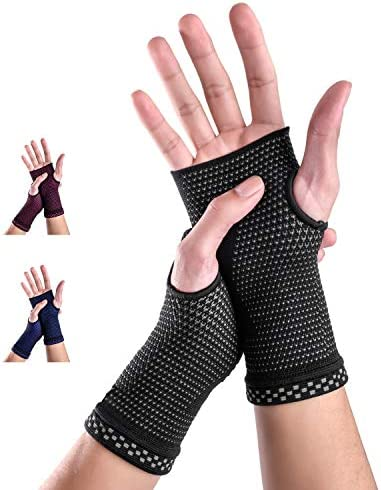 Medical Grade 20-30 mmHg Compression Glove Wrist Support Sleeves (Pair) for Carpal Tunnel and Wrist Pain Relief Treatment, Everyday Use Wrist Brace for Women and Men