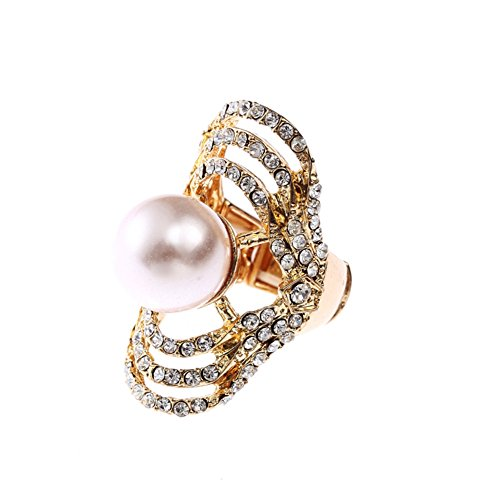 (Qiji Personalized Cocktail Rhinestone Pearl Ring, Adjustable Finger Size (White))