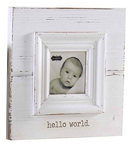 Mud Pie Hello World White Baby Photo Frame