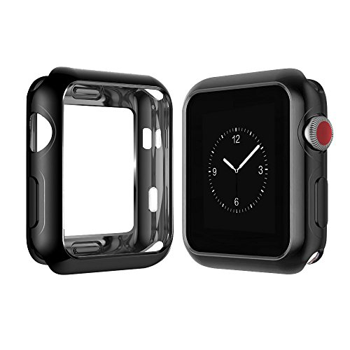 Apple Watch Case, top4cus Scratch-resistant Soft Flexible TPU Plated Lightweight Protective Protector bumper for Apple iwatch 42mm All Series (Series 3 Series 2 Series 1) - Black, (Soft Tpu Bumper Case)