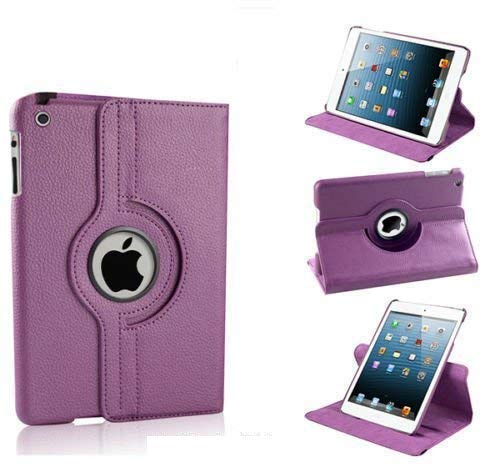 Caseous Synthetic Leather Rotate Flip Cover Case for Apple iPad Mini 1 2 3  7.9inch   Purple