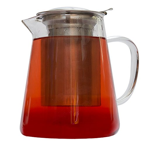 Zenco-32-oz-Clear-Glass-Teapot-Pitcher-with-Extra-Fine-Stainless-Steel-Infuser-Filter-set-perfect-for-brewing-Loose-Leaf-and-Blooming-Tea-Cold-Brew-and-Iced-Tea-Maker