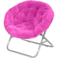 Soft Pink Saucer Faux-Fur Chair