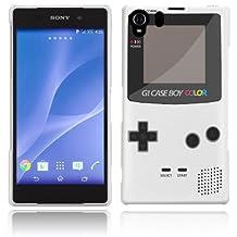 Sony Xperia Z2 Case - White Hard Plastic (PC) Cover with Retro Funny Gameboy Design