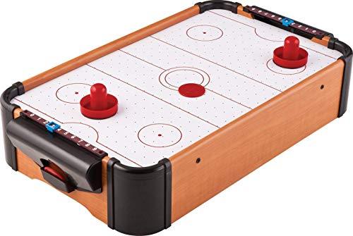 ミニエアホッケーゲーム 全長51cm 卓上サイズ ウッド調ボディ 盤面エアフロー機構 乾電池式 得点表示付 ご家庭で本格的ホッケーゲームを FMTOGB0333