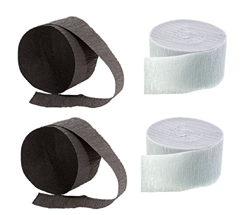 (BLACK and WHITE Crepe Paper Streamers (2 Rolls Each Color) MADE IN USA!)