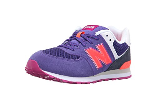 New Balance KL574 Summer Utility Grade Running Shoe (Big Kid), Purple/Black, 5 M US Big Kid ()