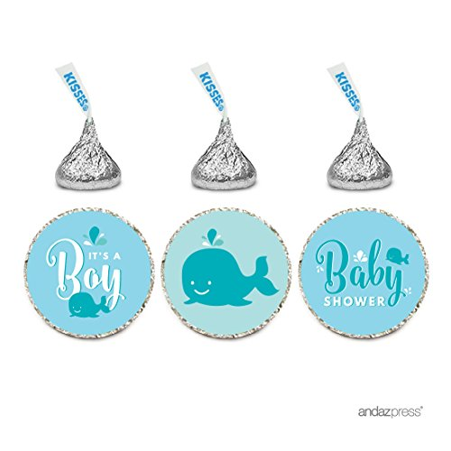 Andaz Press Chocolate Drop Labels Trio, Boy Baby Shower, Baby Blue Nautical Whale, 216-Pack, Fits Hershey's Kisses Party Favors, Decor, Decorations
