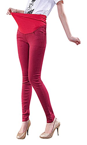 US&R Women's Warm Winter Candy Color Maternity Secret Fit Belly Close Fit Pants, WinterWinRed 2 ,Manufacturer(S)