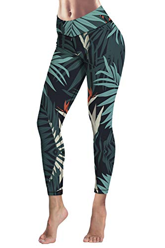 (COCOLEGGINGS Ladys Nature Fractal Art Leggings Athletic Gym Pants Green S)