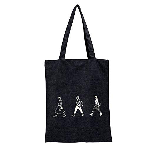 Sacs de Doitsa Lycéenne de à Motif Loisirs Femmes Etudiante Cabas Main Filles Noir Sac Mode de Cours Plage Loisirs Sacs Simple Blanc S0S6rx
