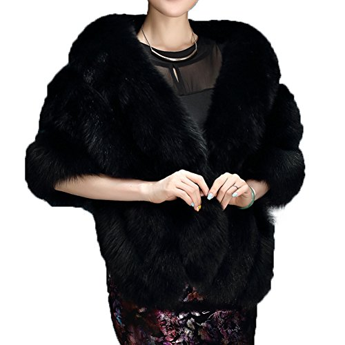 Caracilia Womens Thicken Faux Fur Wrap Shawls Warm Poncho Jackets Black2 CA89