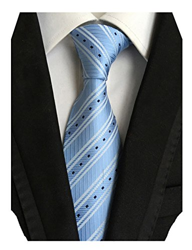 Silk Striped Neckwear - MINDENG New Men's Black and White Striped Silk Jacquard Woven Suits Tie Necktie