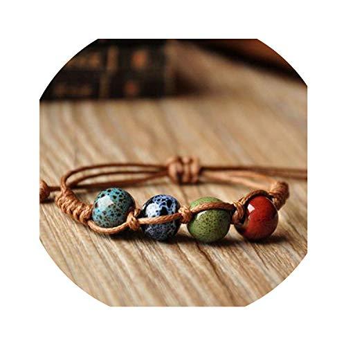 Peony red Vintage Beads Bracelet Handmade Woven Elegant Bracelets & Bangles Jewelry Fashion Accessory for Women Men,02