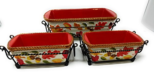 Temp-tations Set of 3 Loaf Pans w/ Plastic Covers & Wire Racks, Stoneware (Harvest) by Temptations (Image #2)