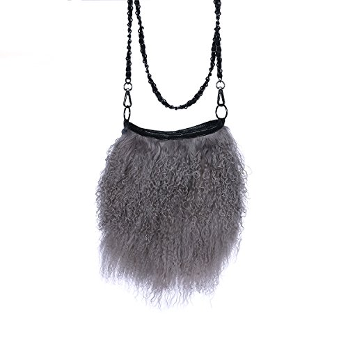 Metrekey Lady's Long Chain Handbag Real Mongolian Sheep Fur Shoulder Bags Grey Fur Shoulder Bag