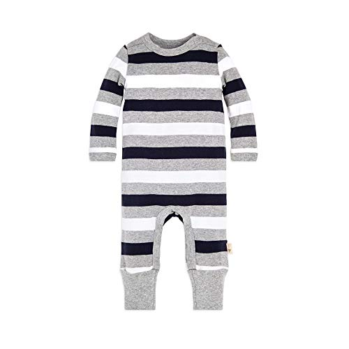 Burt's Bees Baby Baby Boys Romper Jumpsuit, 100% Organic Cotton One-Piece Coverall, Multi Rugby Stripe 24 Months