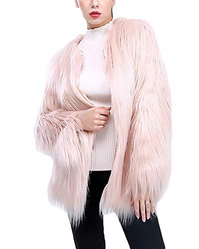 Rose Femme Longues Manteau Manteau Long Synthétique Fourrure Manches Clair Fourrure Quge De USpv1q