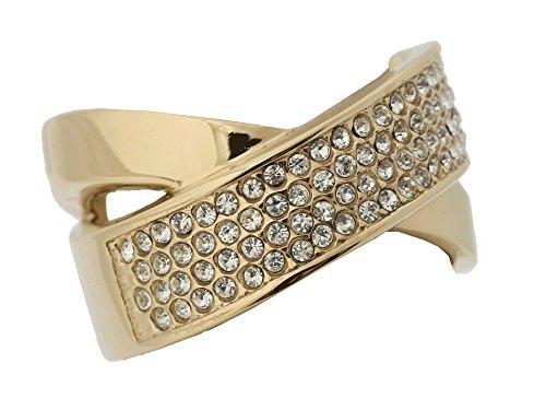 Michael Kors Gold Tone Pave Criss Cross Ring, Size 6 (Michael Kors Rings Size 6)