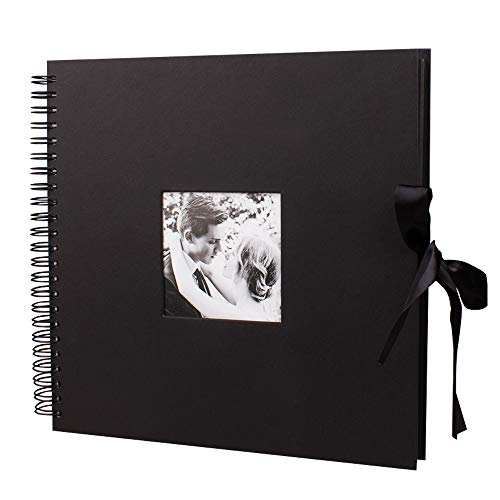 12x12 Inch DIY Scrapbook Photo Album with Cover Photo Pocket 80 Pages Silk Ribbon Album Craft Paper Album for Guest Book, Anniversary, Valentines Day Gifts(Black) by QC HOME