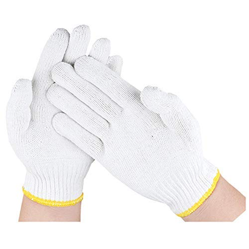 Safety Grip Protection Knit Cotton Gloves For Light To Medium Duty Work White-One Size Large (100)