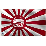 3x5 Foot Miata JDM Japanese Rising Sun Flag: Single Sided 100% Polyester Banner, Canvas Header with 2 Grommets, UV Resistant Vibrant Digital Print, for Use Outdoor or Indoor (Color: Red White, Tamaño: 3'x5')