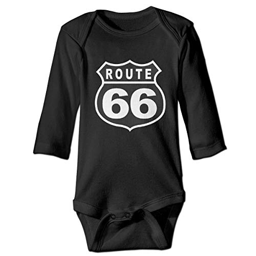 CoolTlong Route 66 Vacation Highway Road Baby Classical Long Sleeved Jumpsuit Cute Long-Sleeve Bodysuit Long Sleeve Infant Romper Jumpsuit Black