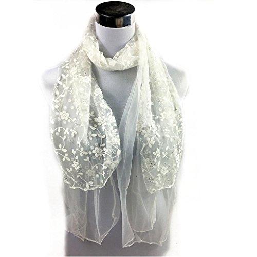 DDLBiz Women Embroidered Scarf Lace Sheer Burntout Floral Scarves Mantilla Shawl (White)