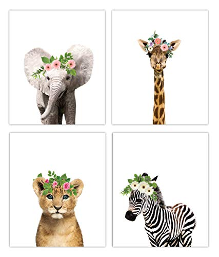 Designs by Maria Inc. Floral Crown Safari Baby Animals Nursery Decor Art – Set of 4 UNFRAMED Wall Prints 8×10 (Option 4)
